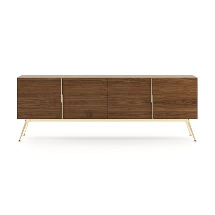 A natural walnut wood sideboard with gold-painted stainless steel accents
