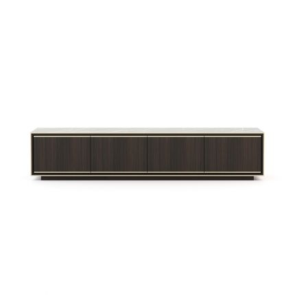 A luxurious TV cabinet available in wood and marble finishes by Laskasas