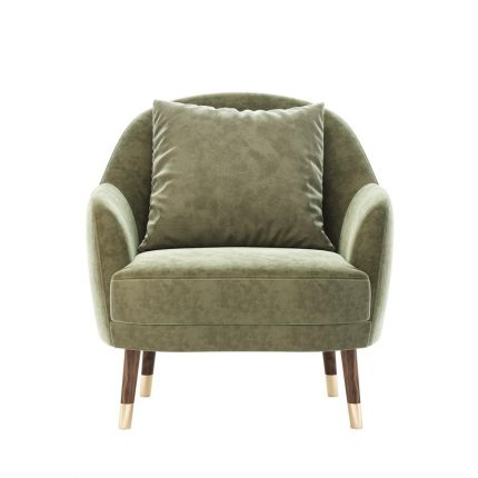A cosy modern mid-century armchair with wooden legs and golden caps