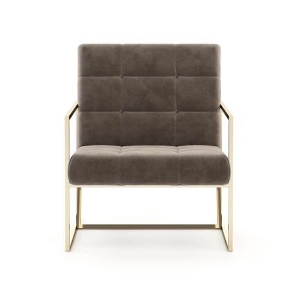 A chic and contemporary armchair inspired by mid-century design with a golden frame. Pictured in Vienna Mouse.