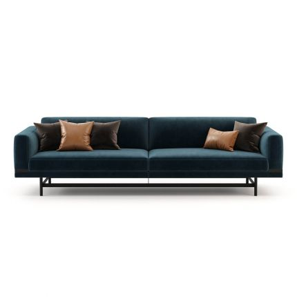 Velvet, modern/industrial style 3 seater sofa with lifted metal structure