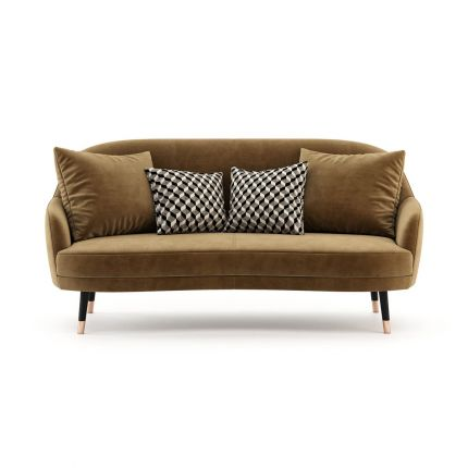 Retro style velvet sofa with wooden legs and copper tips. Pictured in Vienna Teja.