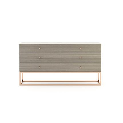 A modern chic 6-drawer chest of drawers in a matte grey finish with a copper base and handles