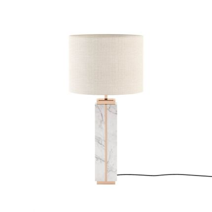 White marble table lamp with copper finish and cream shade