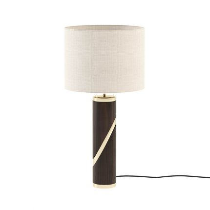 Dark wooden table lamp with metallic spiral cross detailing and cream shade