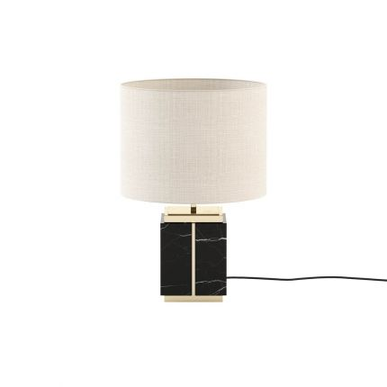 Short black marble table lamp with copper accents and natural shade