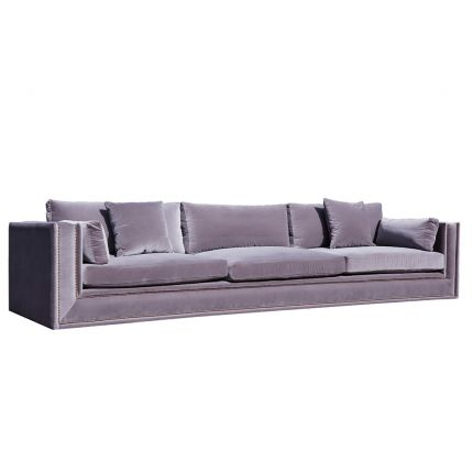 A luxurious grey velvet 4 seater sofa with bruised velvet and a damaged frame