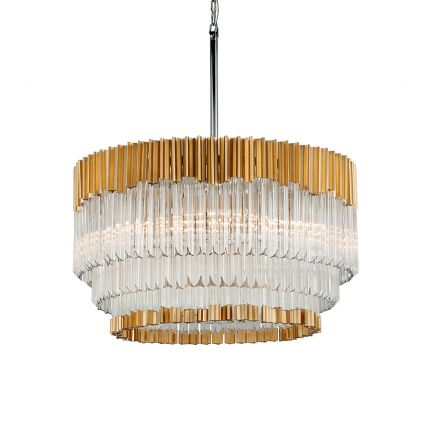 A dazzling crystal glass and gold leaf pendant by Hudson Valley