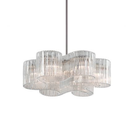 A glamorous pendant by Hudson Valley featuring six elegant glass shades and a stunning satin silver leaf finish