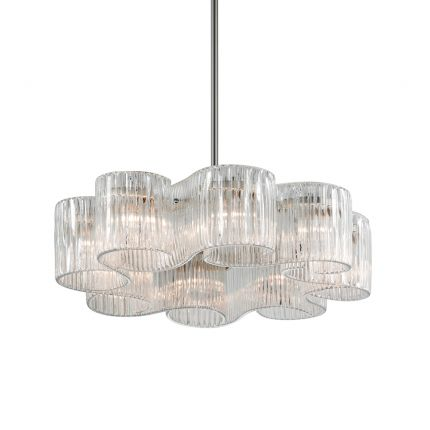 A glamorous pendant by Hudson Valley featuring eight elegant glass shades and a stunning satin silver leaf finish
