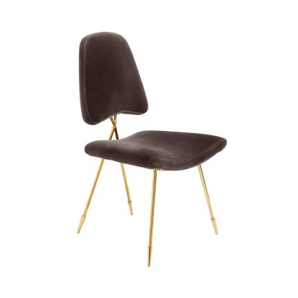 luxurious dining chair with charcoal, velvet upholstery and polished brass frame