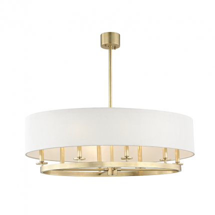 An elegant oval ceiling pendant in aged brass with an off-white linen lampshade