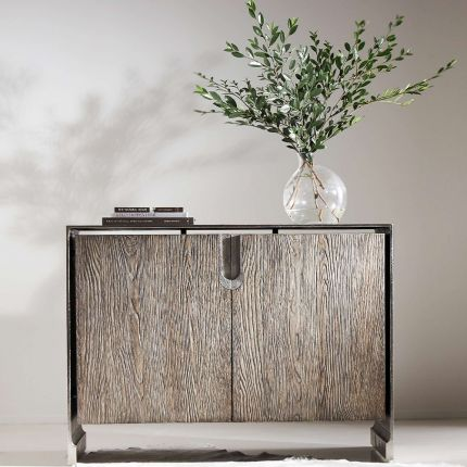 A beautiful two drawer chest from Bernhardt featuring a white oak veneer inner case and an aluminium outer case with a nickel finish