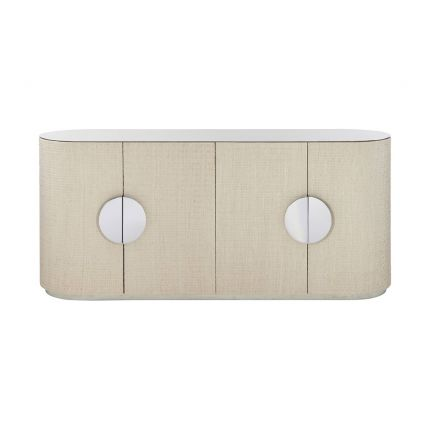 A stunning bleached raffia sideboard with four doors, interior shelving, a white oak veneer interior, polished stainless steel top and plinth base