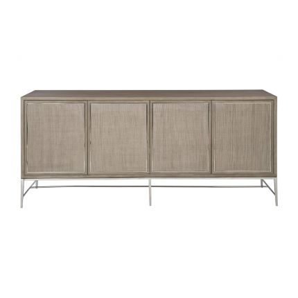 A gorgeous entertainment unit with four raffia panelled doors and finished with a polished stainless steel base and overlay