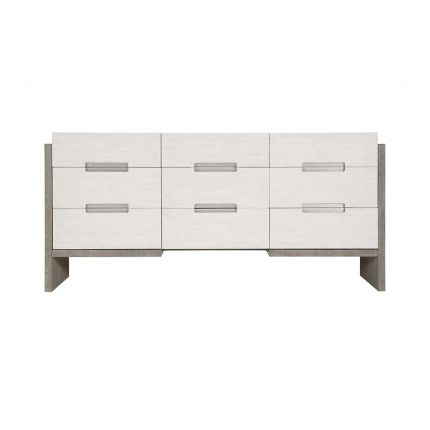 A sophisticated dresser from Bernhardt with a two toned white and grey finish, brushed stainless steel handles and nine soft closing drawers