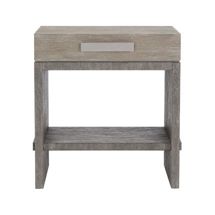 A gorgeous two tone bedside table by Bernhardt with a soft closing drawer, base shelf and dual port charger