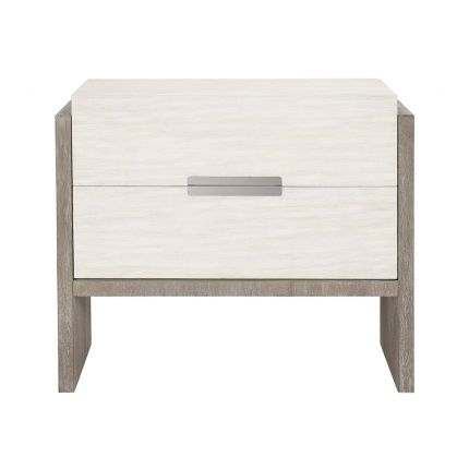A beautiful bedside table by Bernhardt featuring a gorgeous two tone finish, two soft closing doors and a dual USB charger