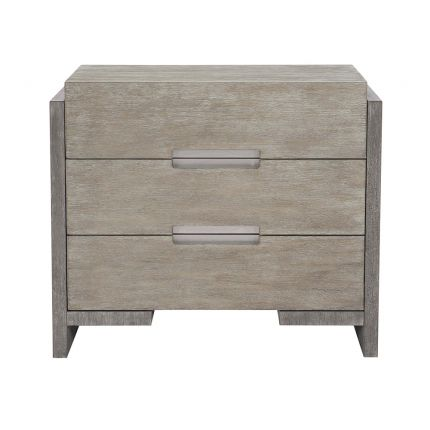 A gorgeous two tone bedside table with three drawers and a dual USB charger from Bernhardt