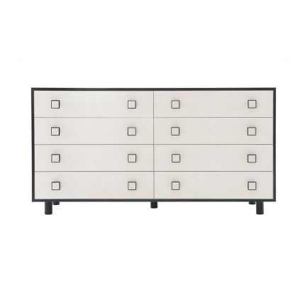 An abstract chest of eight drawers with black graphic details and square handles