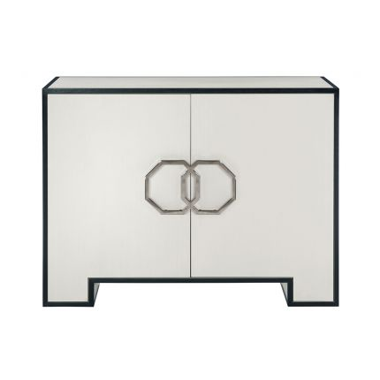 A sophisticated and spacious cabinet from Bernhardt with a two-tone finish, soft closing doors and adjustable shelves