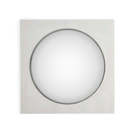A convex mirror with a nickel frame