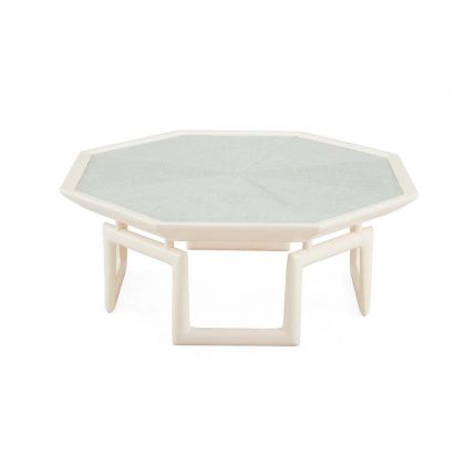 An octagonal coffee table with an ice blue top and mahogany base.