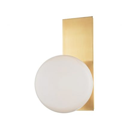 An elegant white glass and aged brass wall lamp