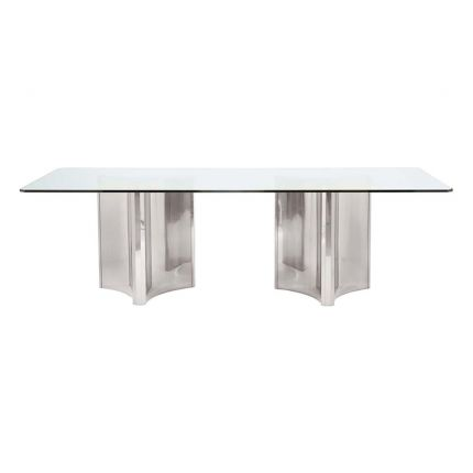Nickel and glass dining table