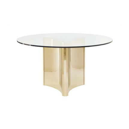 glass and brass dining table
