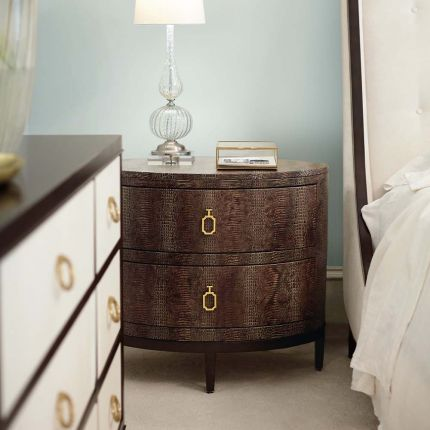 A gorgeous, crocodile embossed leather, bedside table.