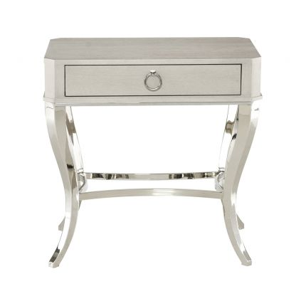 An elegant one drawer bedside table by Bernhardt with a glamorous glimmering base and an ash grey veneer finish