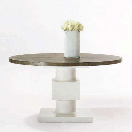 circular and abstract dining table with contrasting top and base