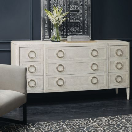 A lovely dresser from Bernhardt with nine spacious drawers and a beautiful natural dove white finish