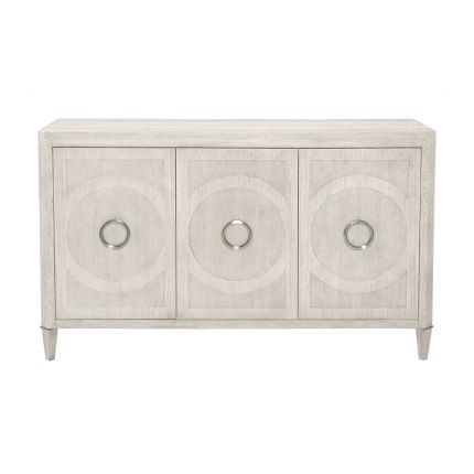 A classic three door buffet with a natural finish and an abundance of internal storage