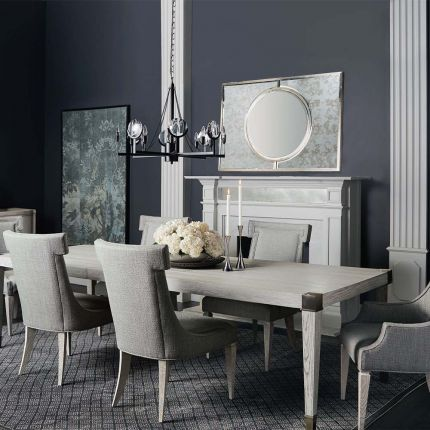 Simplistic and elegant dining table with metal accents