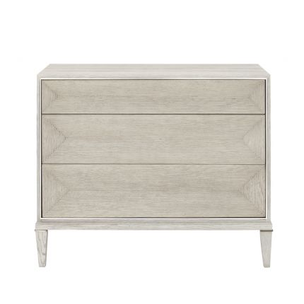 A stylish natural chest with tarnished nickel accents