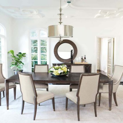 extendable dining table with brass feet