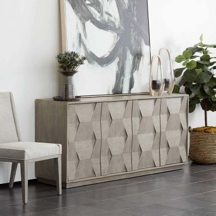 Sideboard in a natural wood finish with varied inlays in hexagonal shape