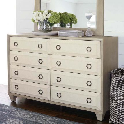 Upholstered, contrasting dresser with 8 drawers