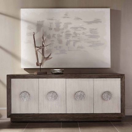 A two-toned sideboard with detailed handles