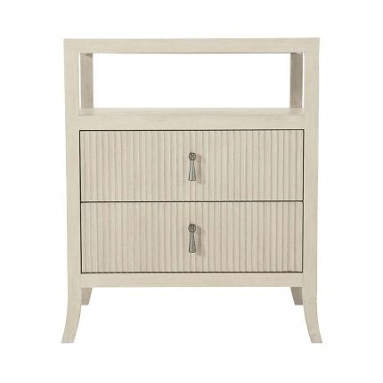 A delicate two-drawer bedside table made from Ash wood and metal handle features