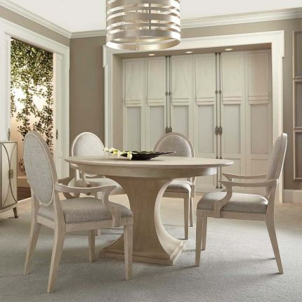 Round dining table with light base