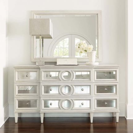 beautiful dresser with antiqued mirror glass