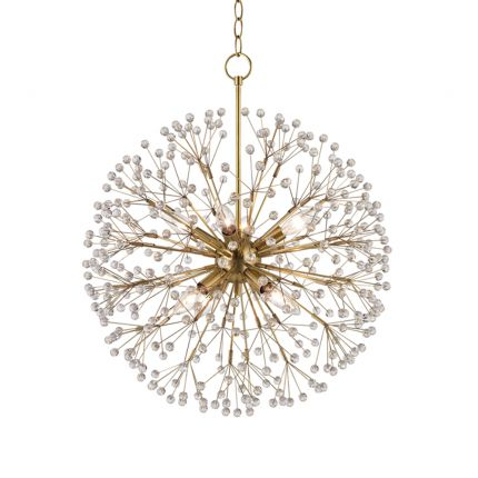 A sparkling and magical firework-style chandelier with crystal beads by Hudson Valley