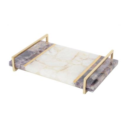 Luxurious white and purple quartz tray with golden accents
