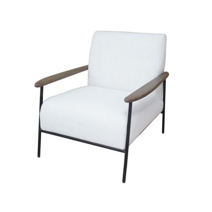 Pale grey armchair with wooden arms and steel black frame