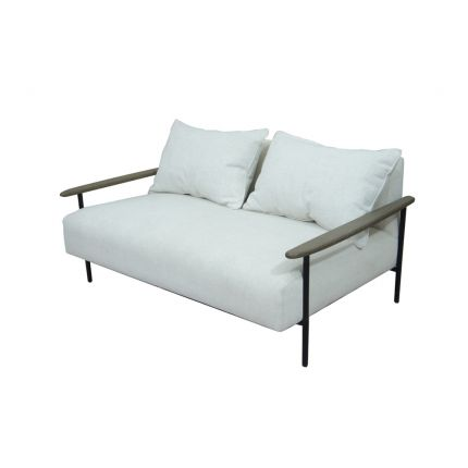 Cream, pale grey upholstered, industrial style 2 seater sofa with black wooden arms and steel frame