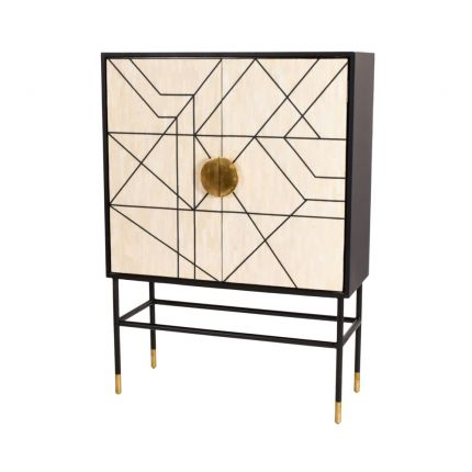Glamorous cream and black bone inlay bar cabinet with golden accents