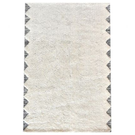 Contemporary cream and charcoal cotton rug with pitloom finish